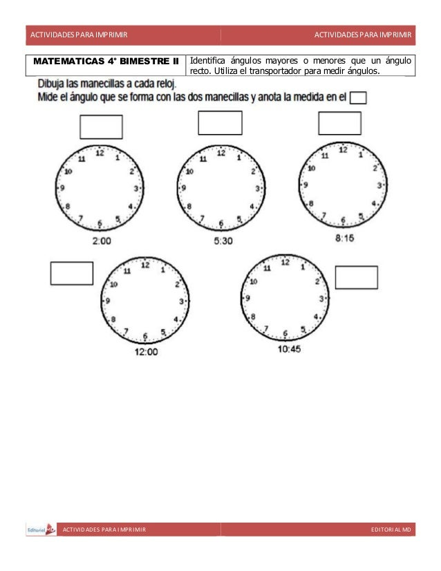actividades para cuarto grado de primaria para imprimir