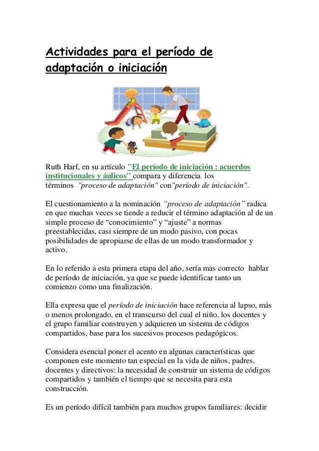 Actividades para el per odo de adaptaci n o iniciaci n for Adaptacion jardin