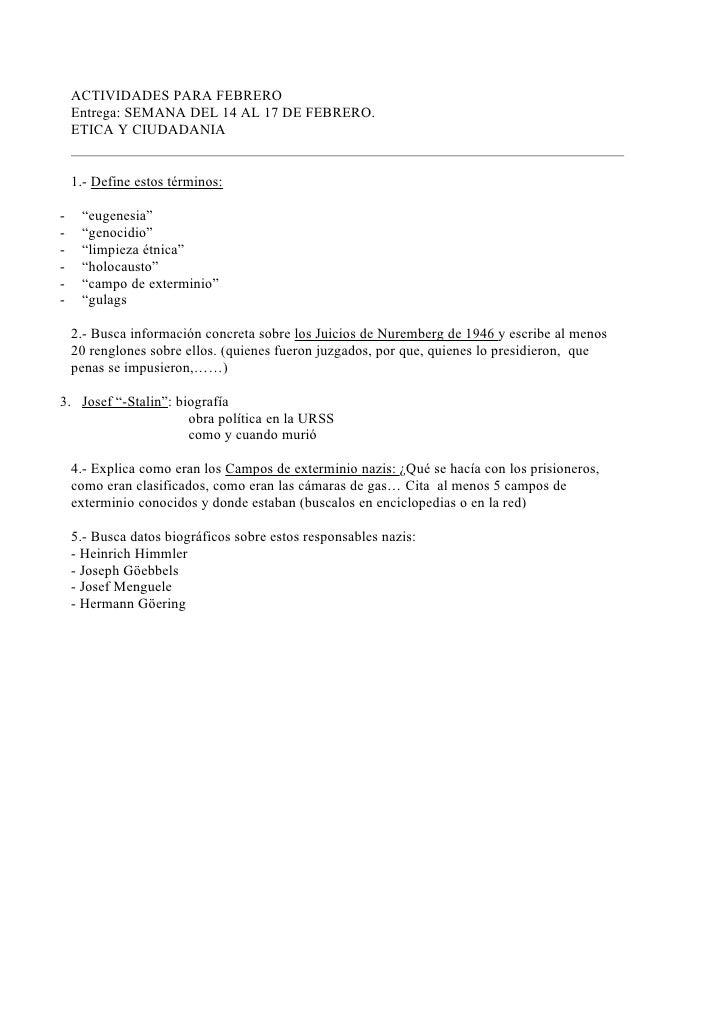 ACTIVIDADES PARA FEBRERO    Entrega: SEMANA DEL 14 AL 17 DE FEBRERO.    ETICA Y CIUDADANIA    1.- Define estos términos:- ...
