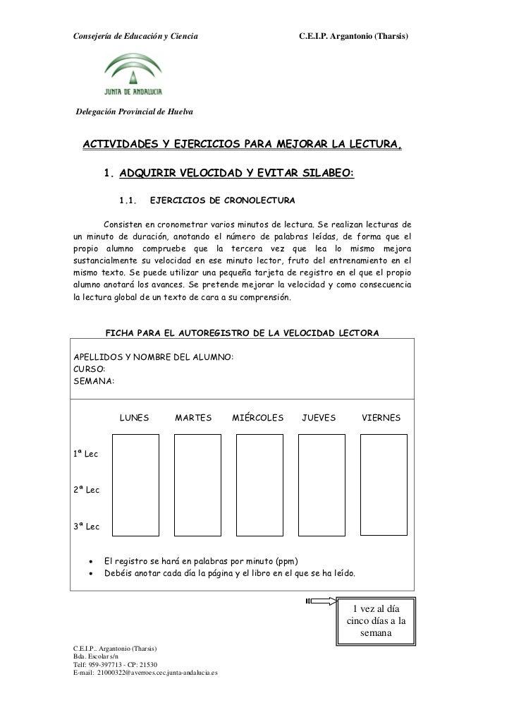 Consejería de Educación y Ciencia                              C.E.I.P. Argantonio (Tharsis)Delegación Provincial de Huelv...