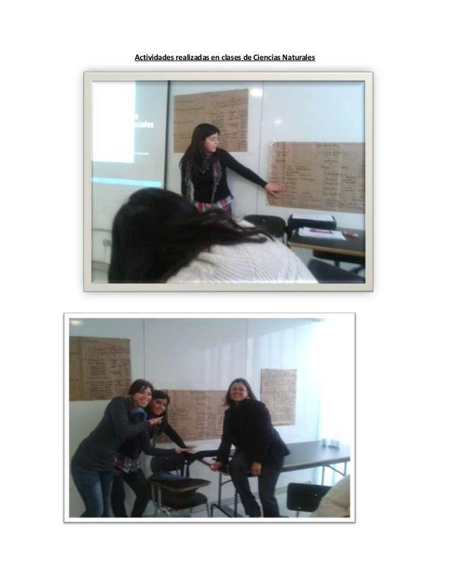 Actividades realizadas en clases de Ciencias Naturales