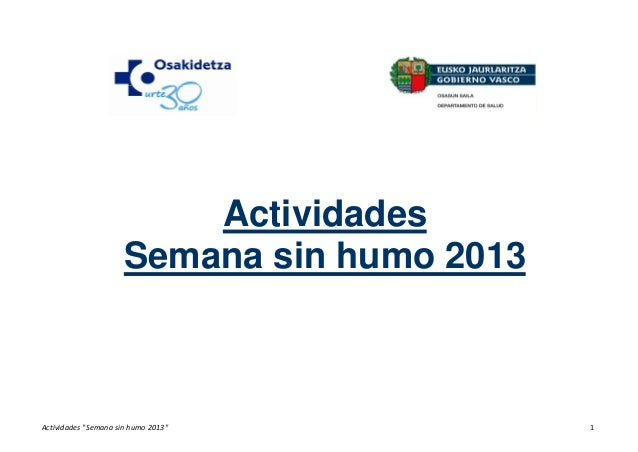 "ActividadesSemana sin humo 2013Actividades""Semanasinhumo2013"" 1"