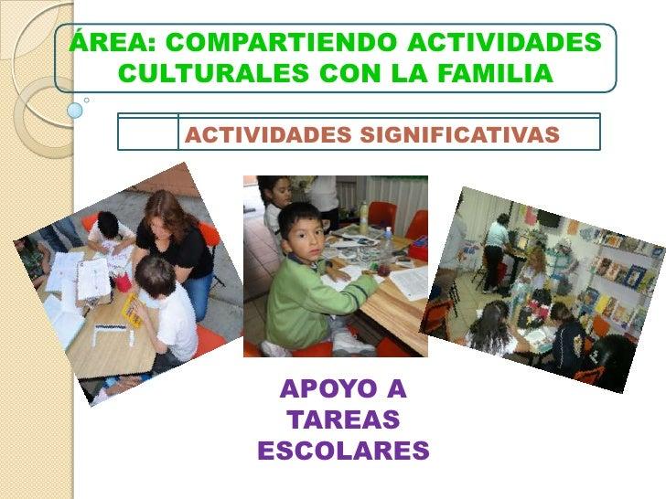 ÁREA: COMPARTIENDO ACTIVIDADES CULTURALES CON LA FAMILIA<br />ACTIVIDADES SIGNIFICATIVAS<br />APOYO A TAREAS ESCOLARES<br />