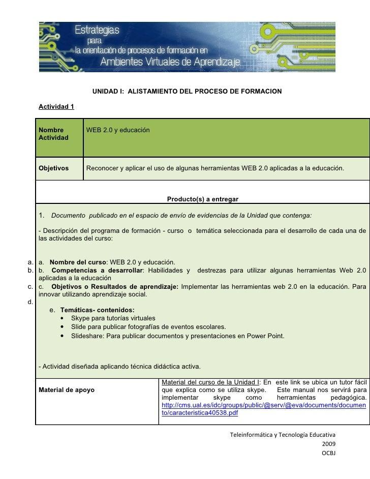UNIDAD I: ALISTAMIENTO DEL PROCESO DE FORMACION     Actividad 1      Nombre          WEB 2.0 y educación    Actividad     ...
