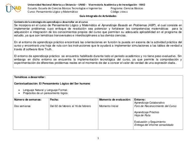 1 Universidad Nacional Abierta y a Distancia – UNAD - Vicerrectoría Académica y de Investigación - VIACI Escuela: Escuela ...