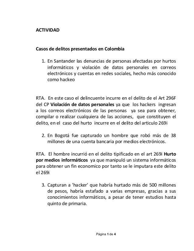 Página 1 de 4 ACTIVIDAD Casos de delitos presentados en Colombia 1. En Santander las denuncias de personas afectadas por h...