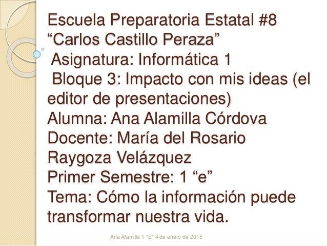 """Escuela Preparatoria Estatal #8 """"Carlos Castillo Peraza"""" Asignatura: Informática 1 Bloque 3: Impacto con mis ideas (el edi..."""