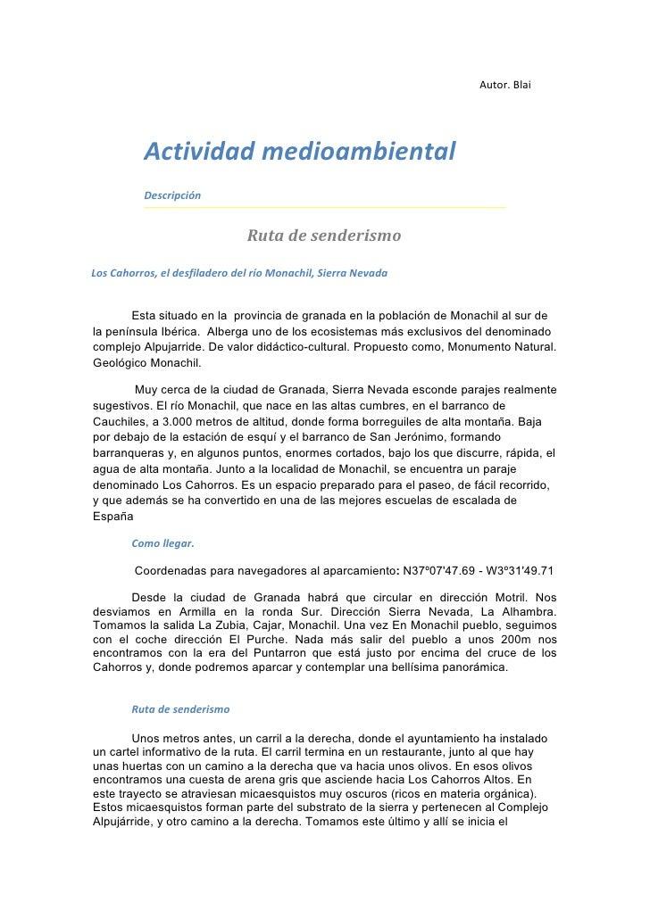 Autor. Blai          Actividad medioambiental          Descripción                               Ruta de senderismoLos Cah...