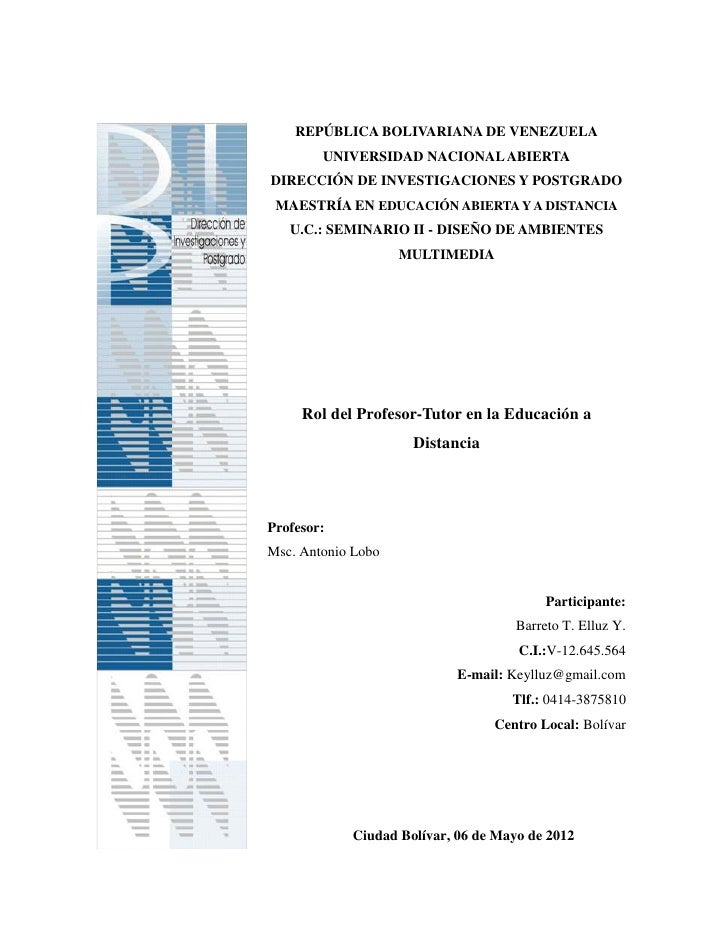 REPÚBLICA BOLIVARIANA DE VENEZUELA        UNIVERSIDAD NACIONAL ABIERTADIRECCIÓN DE INVESTIGACIONES Y POSTGRADO MAESTRÍA EN...