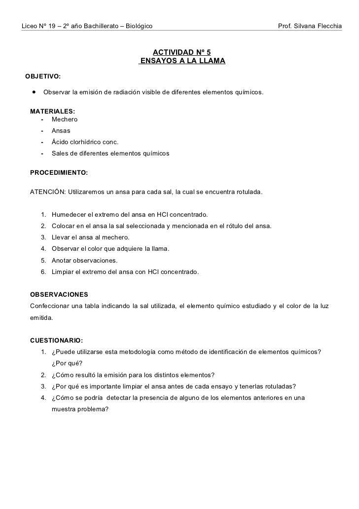 Liceo Nº 19 – 2º año Bachillerato – Biológico                                           Prof. Silvana Flecchia            ...