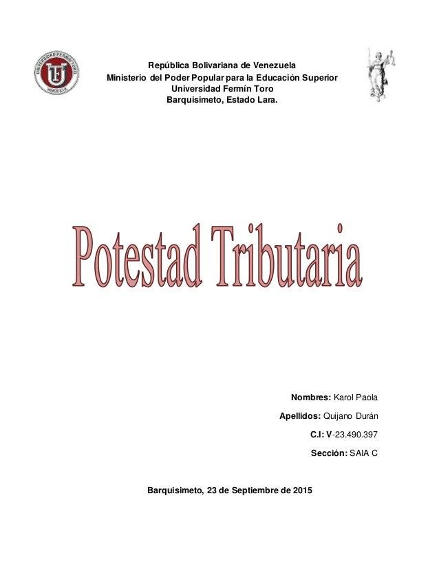 República Bolivariana de Venezuela Ministerio del Poder Popular para la Educación Superior Universidad Fermín Toro Barquis...