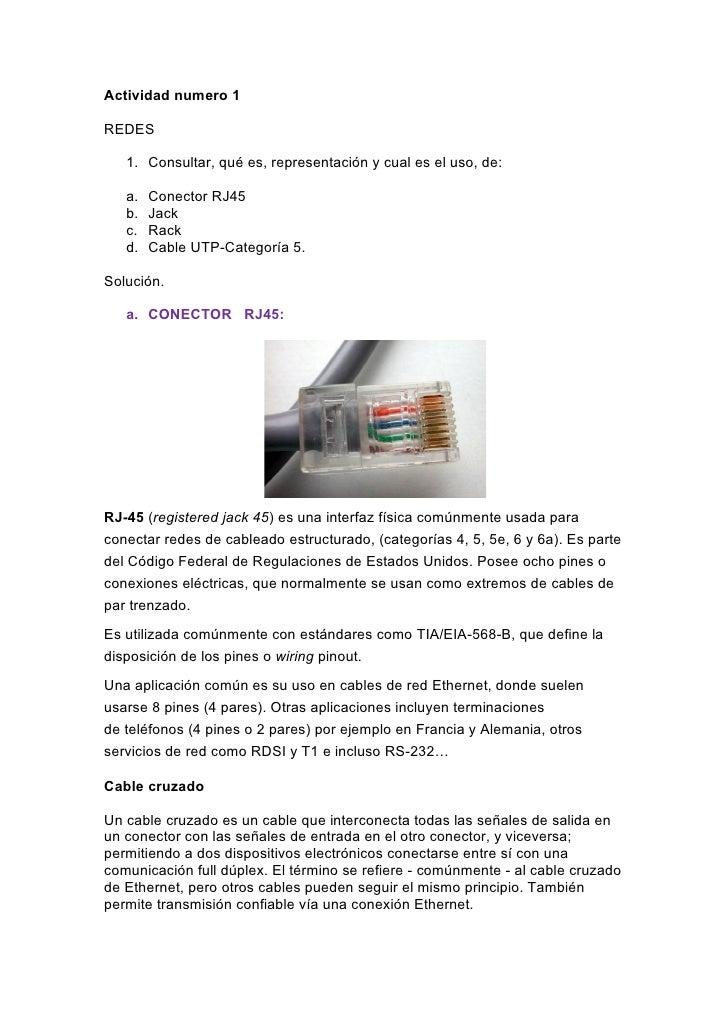 Actividad numero 1REDES   1. Consultar, qué es, representación y cual es el uso, de:   a.   Conector RJ45   b.   Jack   c....