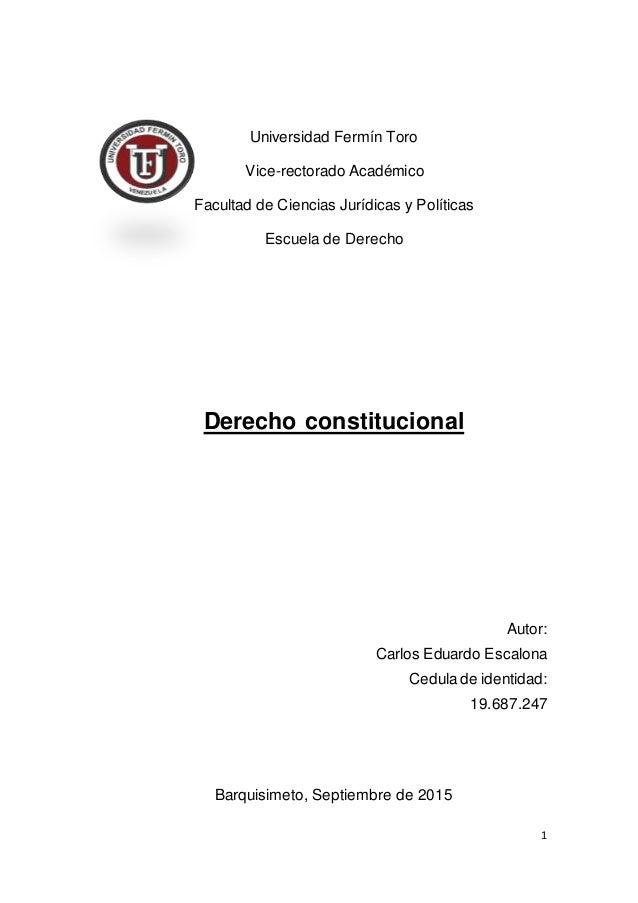 1 Universidad Fermín Toro Vice-rectorado Académico Facultad de Ciencias Jurídicas y Políticas Escuela de Derecho Derecho c...