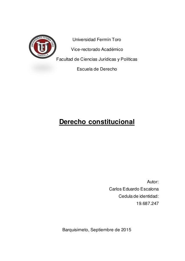 Universidad Fermín Toro Vice-rectorado Académico Facultad de Ciencias Jurídicas y Políticas Escuela de Derecho Derecho con...