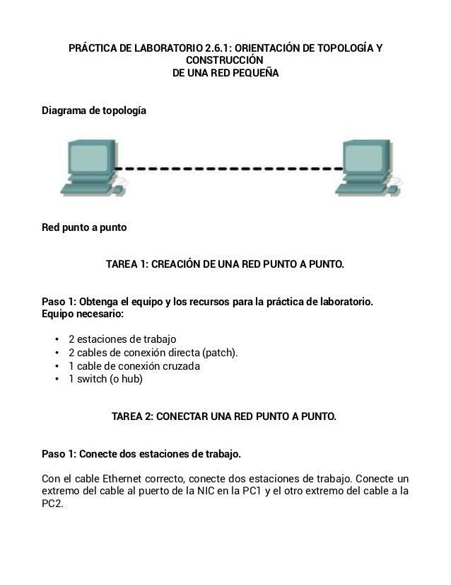 PRÁCTICA DE LABORATORIO 2.6.1: ORIENTACIÓN DE TOPOLOGÍA YCONSTRUCCIÓNDE UNA RED PEQUEÑADiagrama de topologíaRed punto a pu...