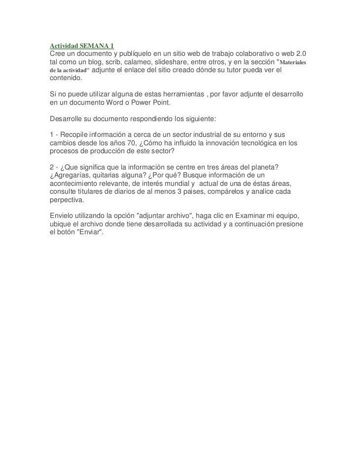 Actividad SEMANA 1Cree un documento y publíquelo en un sitio web de trabajo colaborativo o web 2.0tal como un blog, scrib,...