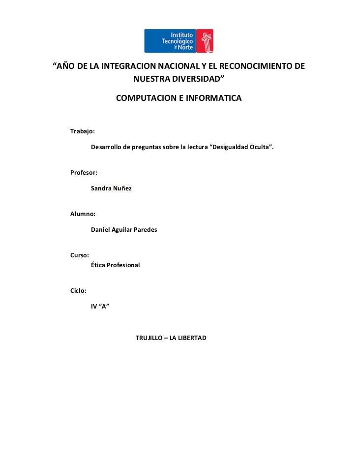 """""""AÑO DE LA INTEGRACION NACIONAL Y EL RECONOCIMIENTO DE                  NUESTRA DIVERSIDAD""""                     COMPUTACIO..."""