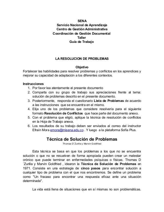 SENA Servicio Nacional de Aprendizaje Centro de Gestión Administrativa Coordinación de Gestión Documental Taller Guía de T...