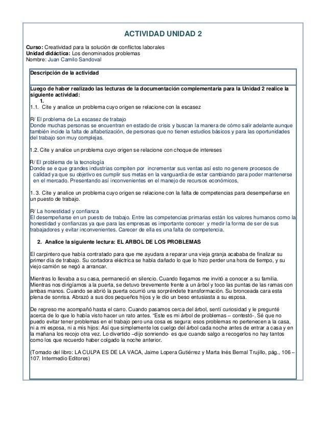 ACTIVIDAD UNIDAD 2Curso: Creatividad para la solución de conflictos laboralesUnidad didáctica: Los denominados problemasNo...