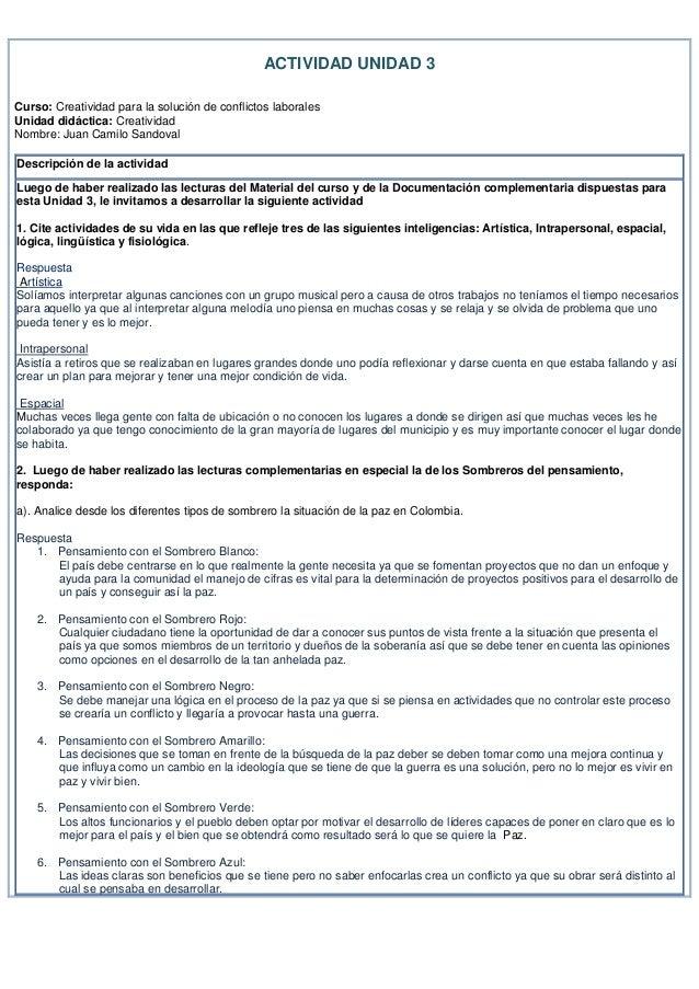 ACTIVIDAD UNIDAD 3Curso: Creatividad para la solución de conflictos laboralesUnidad didáctica: CreatividadNombre: Juan Cam...