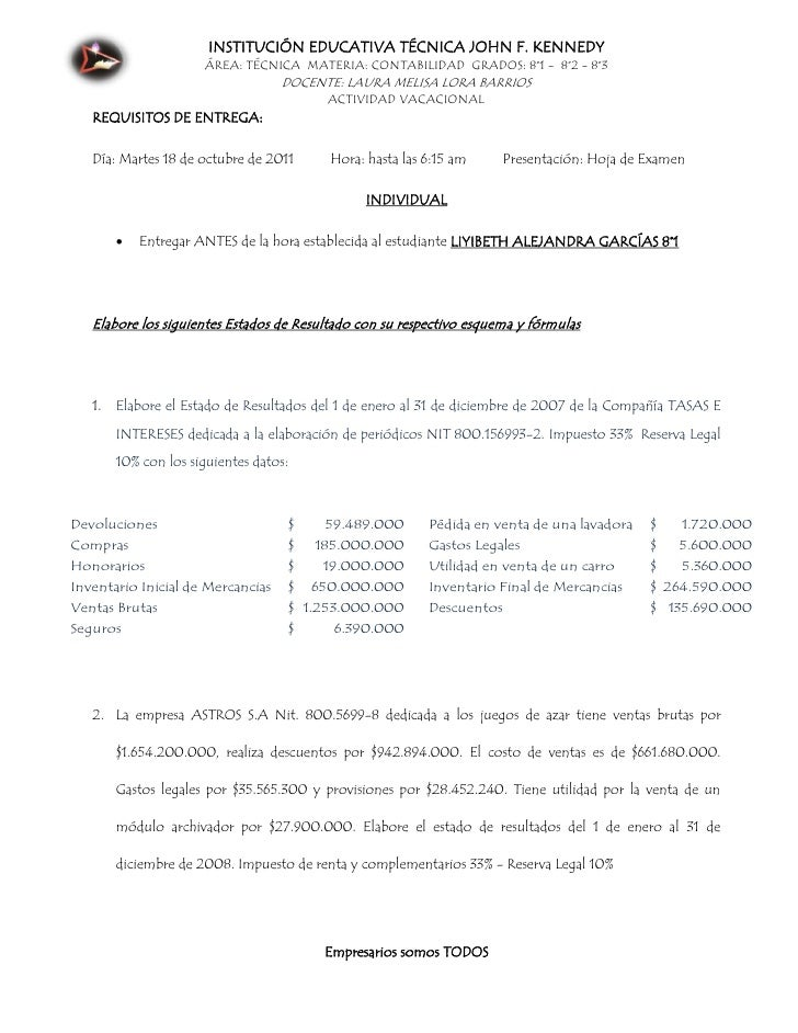 INSTITUCIÓN EDUCATIVA TÉCNICA JOHN F. KENNEDY                      ÁREA: TÉCNICA MATERIA: CONTABILIDAD GRADOS: 8°1 - 8°2 -...