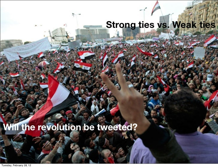 Strong ties vs. Weak ties Will the revolution be tweeted?Tuesday, February 28, 12
