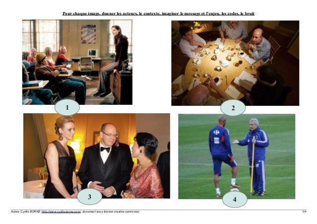 Pour chaque image, donner les acteurs, le contexte, imaginer le message et l'enjeu, les codes, le bruit  1  2  3 Auteur Cy...