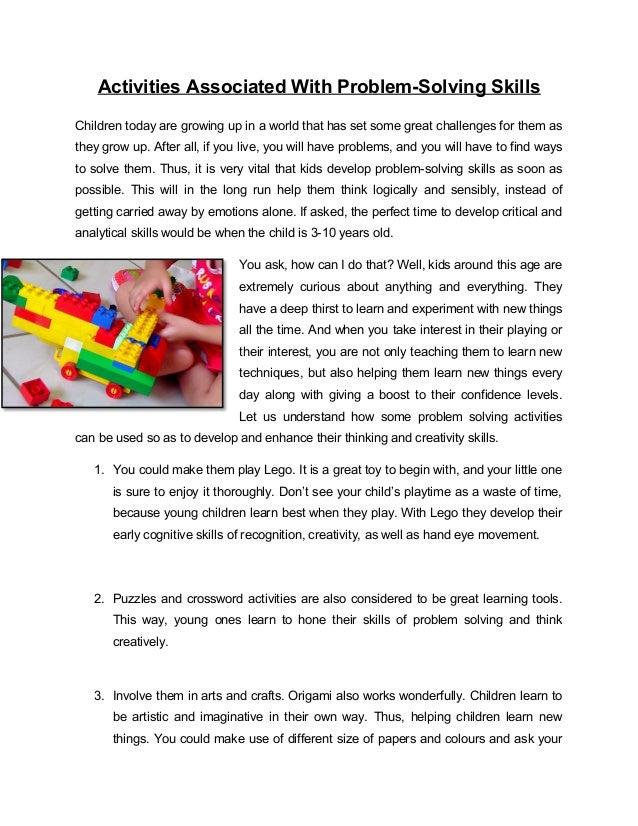 Problem solving activities for children