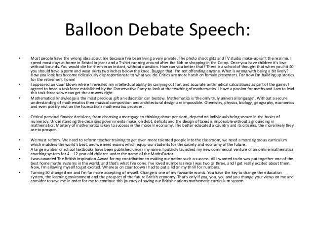 debate speech ideas