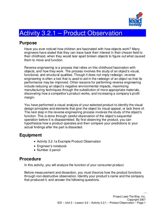 Project Lead The Way, Inc. Copyright 2007 IED – Unit 3 – Lesson 3.2 – Activity 3.2.1 – Product Observation – Page 1 Activi...