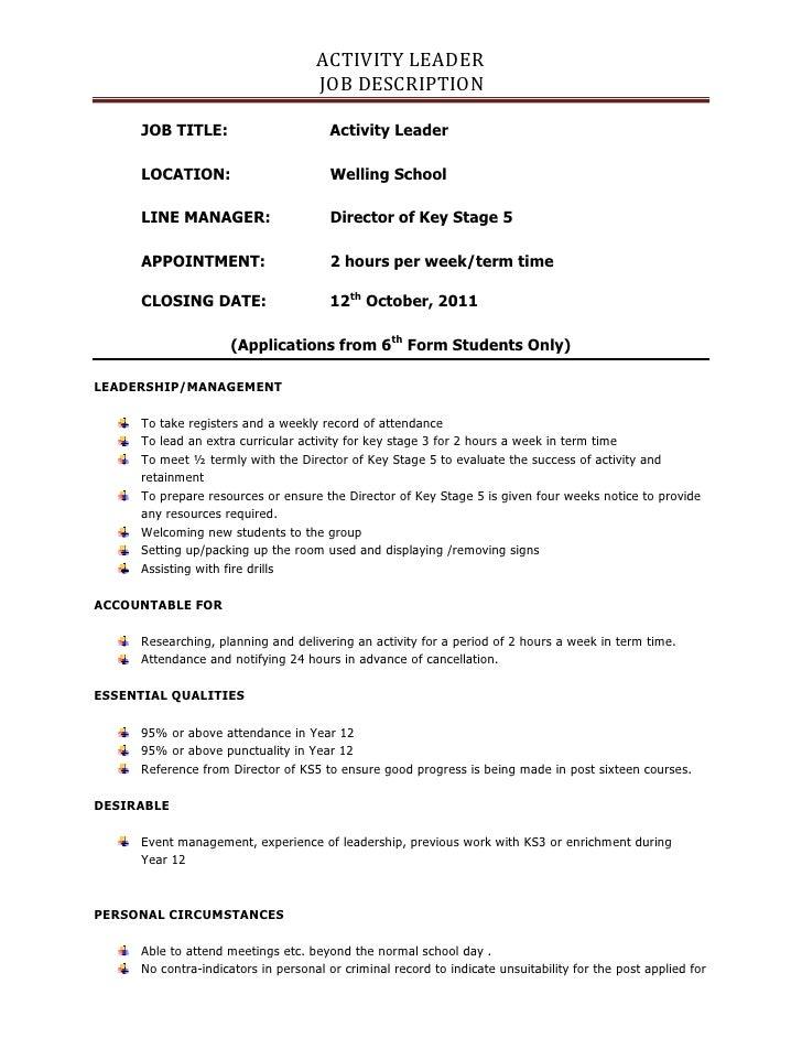 ACTIVITY LEADER                                    JOB DESCRIPTION     JOB TITLE:                        Activity Leader  ...