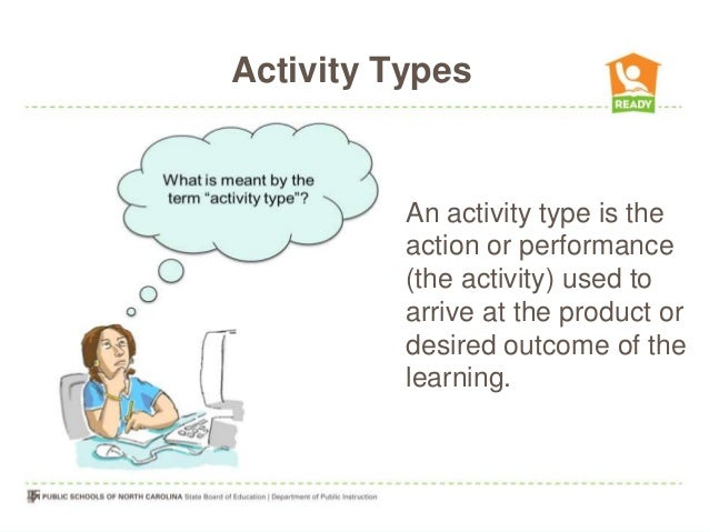 Activity TypesAn activity type is theaction or performance(the activity) used toarrive at the product ordesired outcome of...