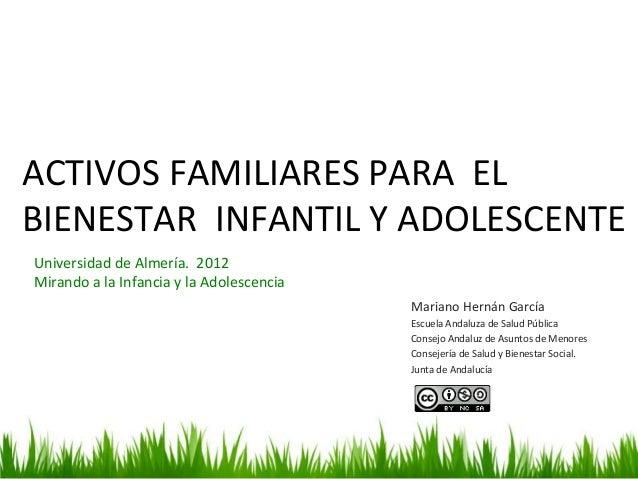ACTIVOS FAMILIARES PARA  EL BIENESTAR  INFANTIL Y ADOLESCENTE Mariano Hernán García  Escuela ...