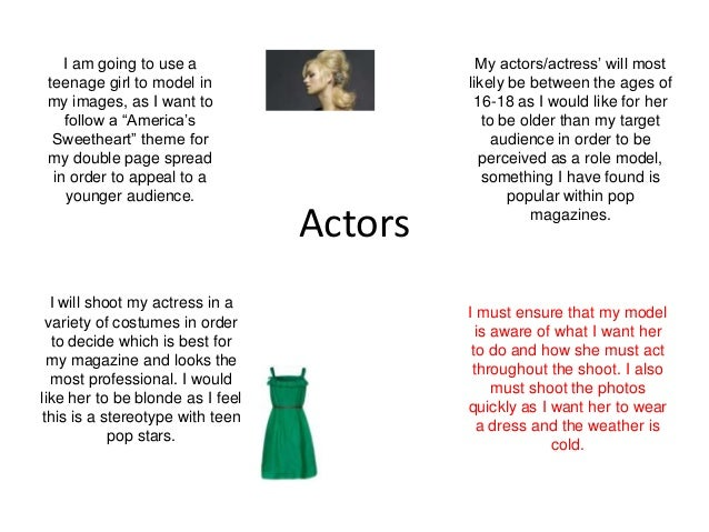"""I am going to use a                      My actors/actress"""" will most teenage girl to model in                  likely be ..."""