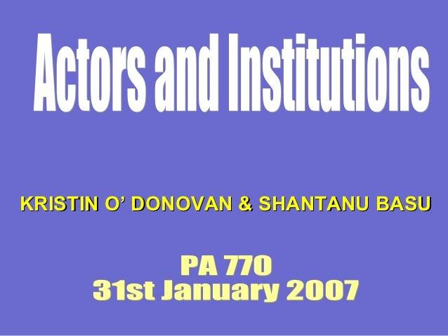 Actors and institutions in public management