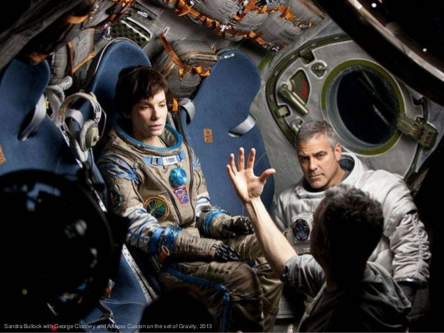 Sandra Bullock with George Clooney and Alfonso Cuaron on the set of Gravity, 2013