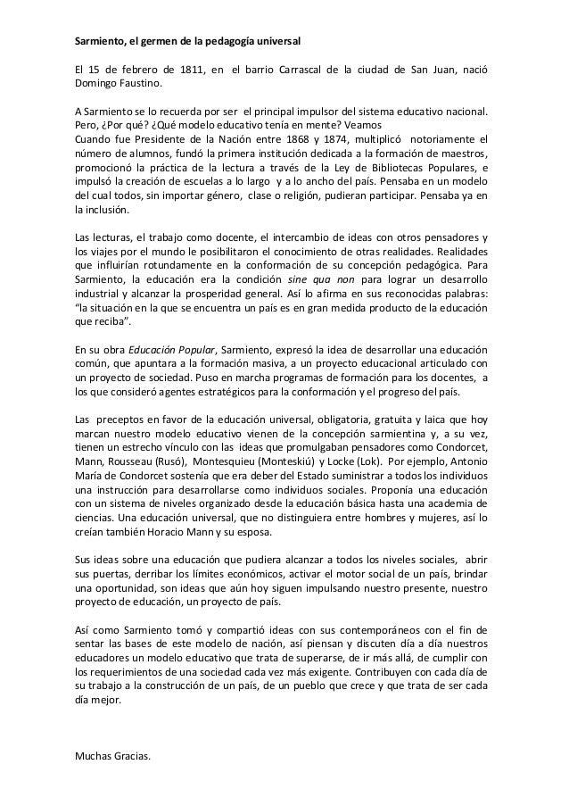 Sarmiento, el germen de la pedagogía universalEl 15 de febrero de