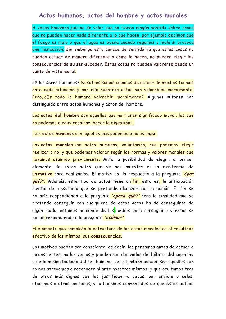 moralidad de los actos humanos pdf