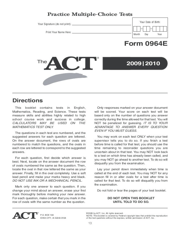 Act sample test booklet 1460e tomtom mapa iberia act test study guide fandeluxe Choice Image