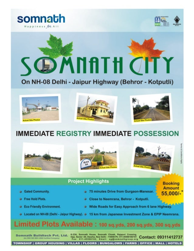Booking open in Somnath city plots on nh-8 Behror.call@8860326693