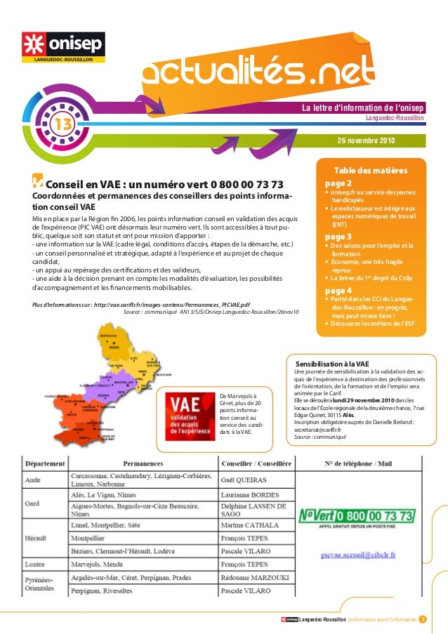 Languedoc-Roussillon L'information avant l'information 1 La lettre d'information de l'onisep Languedoc-Roussillon La lettr...