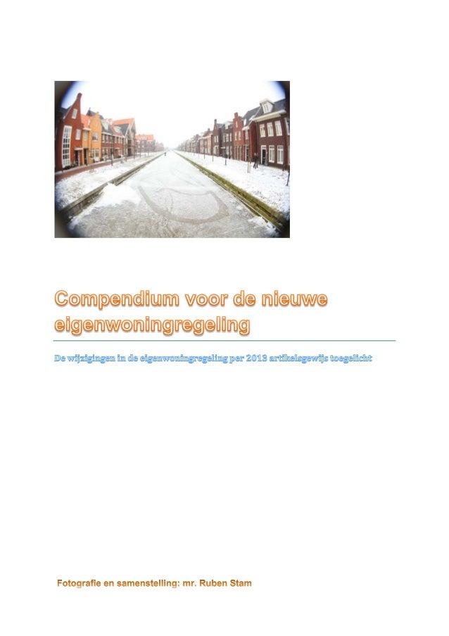 Actualiteiten  compendium nieuwe eigenwoningregeling 2013