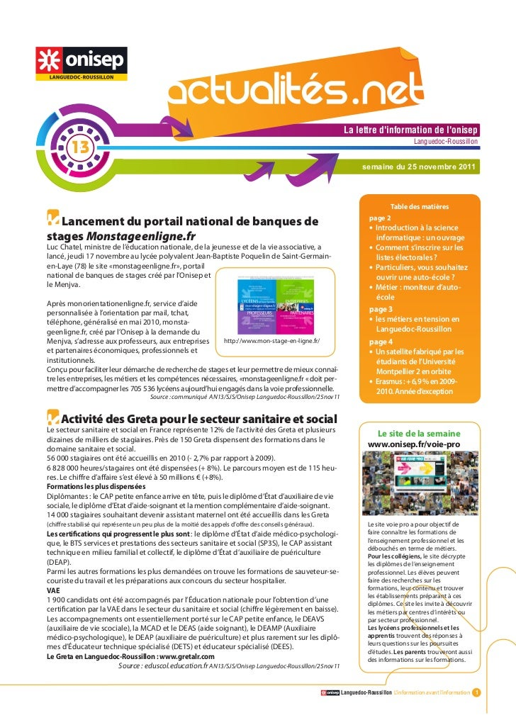 Actualitesnet n°13 25nov11