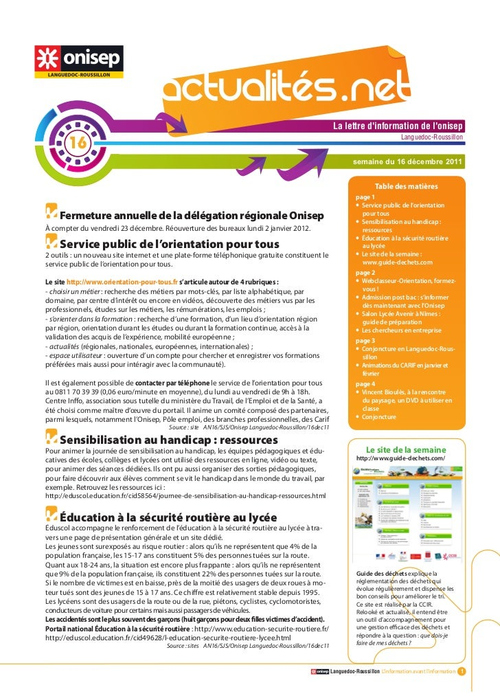 Actualitesnet n°16 16dec11