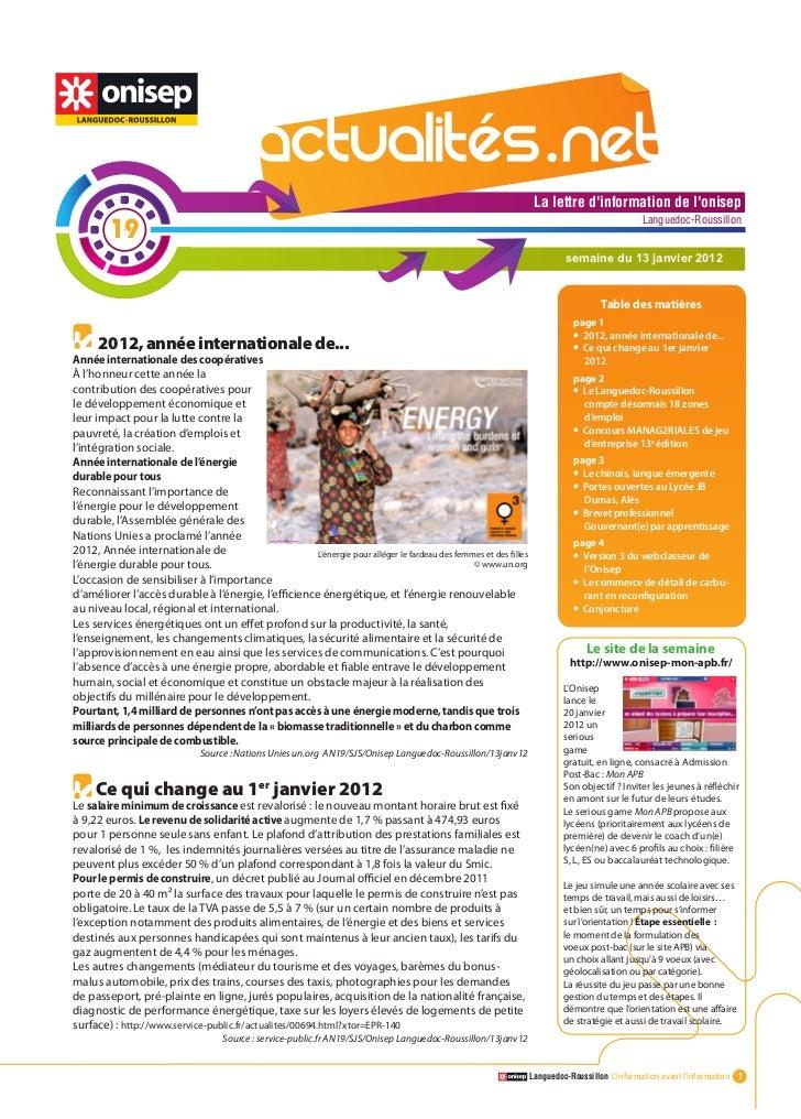 Actualitesnet n°19 13janv12