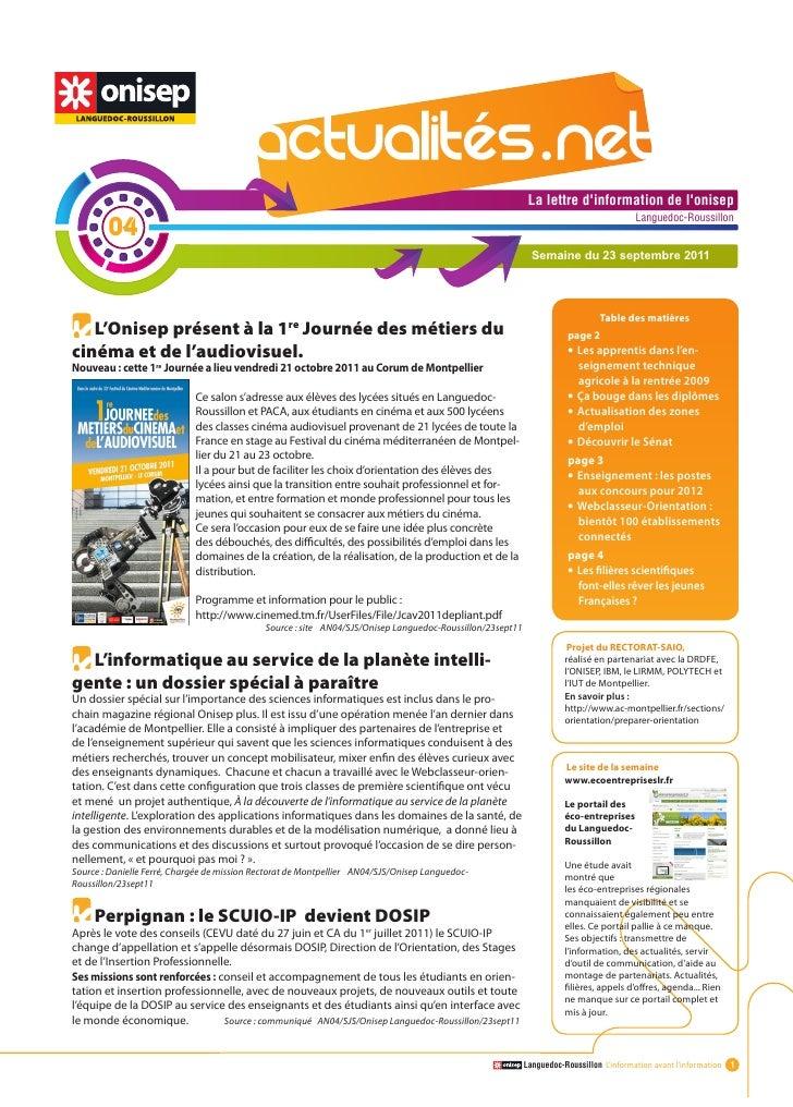 Actualitesnet n°4 23sept11