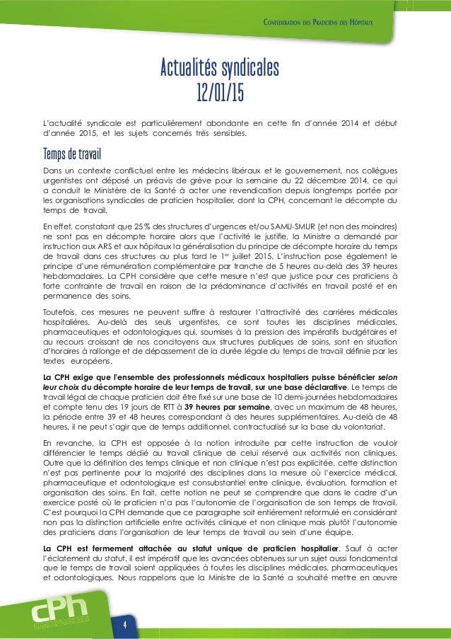 www.cphweb.info 4 Actualités syndicales 12/01/15 L'actualité syndicale est particulièrement abondante en cette d'année 201...