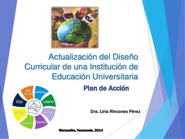 Actualización del Diseño Curricular de Instituciones Univeristarias-Dra. Liria Rincones 2014