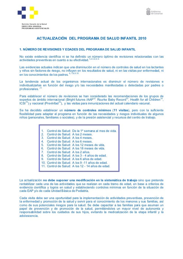 Servicio Canario de la Salud DIRECCIÓN GENERAL PROGRAMAS ASISTENCIALES                ACTUALIZACIÓN DEL PROGRAMA DE SALUD ...