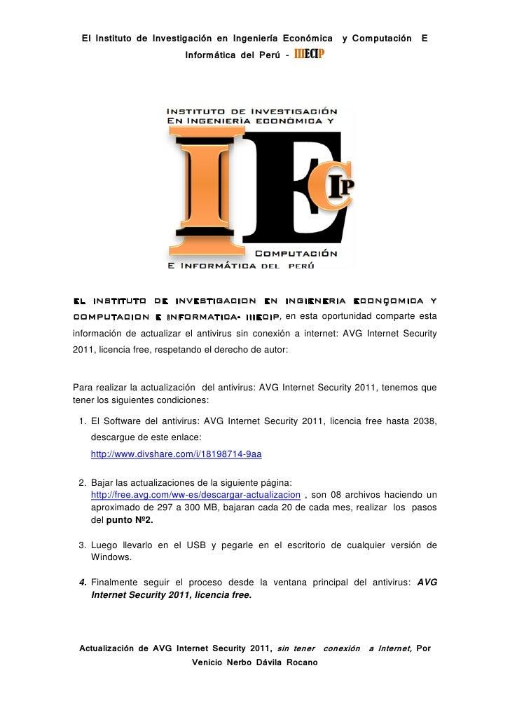 Actualizar antivirus avg internet  security 2011 sin conexion a internet